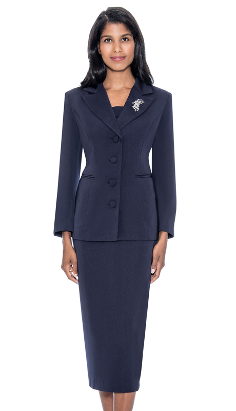 GMI G13382-NA ( 2pc PeachSkin Womens Notch Lapel Usher Suit With Free Removable Brooch )