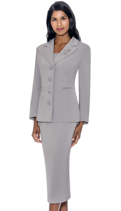 GMI G13382-SI ( 2pc PeachSkin Womens Notch Lapel Usher Suit With Free Removable Brooch )