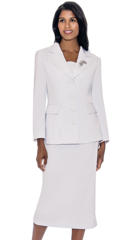 GMI G13382-WH ( 2pc PeachSkin Womens Notch Lapel Usher Suit With Free Removable Brooch )