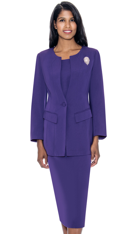 GMI G13393-PU ( 2pc PeachSkin Womens Church Usher Suit With Free Removable Brooch )