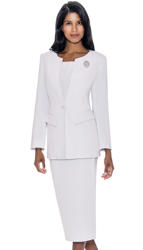 GMI G13393-WH ( 2pc PeachSkin Womens Church Usher Suit With Free Removable Brooch )