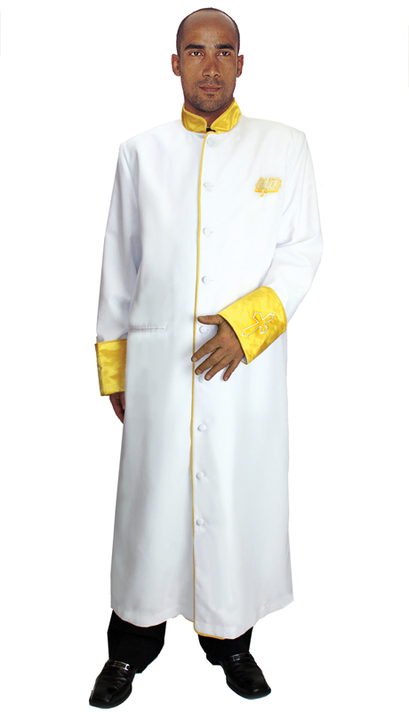GMI RR9091-WH ( 1pc Mens Cassock Church Robe, Invert Pleat In Back With Satin Cuffs and Collar Pockets )