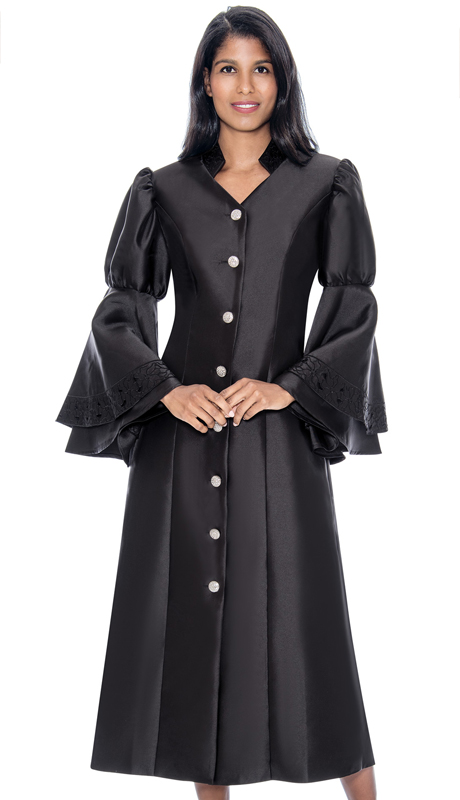 GMI RR9111-BK ( 1pc Silk Look Church Robe With Double Flounce Sleeves, Rhinestone Buttons And Embroidery Embellishing Collar and Sleeves )