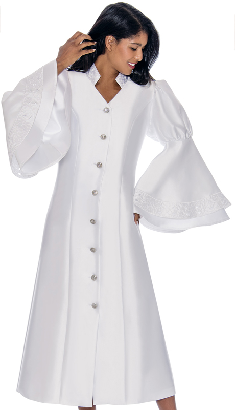 GMI RR9111-WH ( 1pc Silk Look Church Robe With Double Flounce Sleeves, Rhinestone Buttons And Embroidery Embellishing Collar and Sleeves )