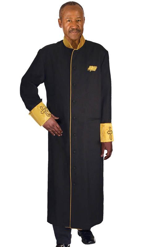GMI RR9091-BK ( 1pc Mens Cassock Church Robe, Invert Pleat In Back With Satin Cuffs and Collar Pockets )