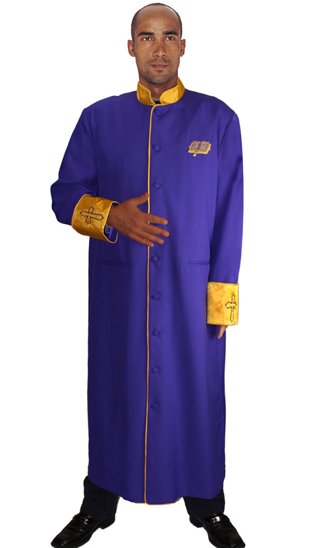 GMI RR9091-PU ( 1pc Mens Cassock Church Robe, Invert Pleat In Back With Satin Cuffs and Collar Pockets )