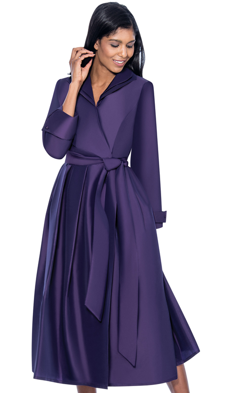 GMI DN5371-PU ( 1pc Silk Look Wing Collar Pleated Wrap Dress With Sash )