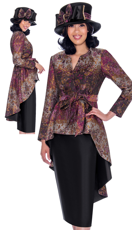 GMI 7772-PU-CO ( 2pc Silk Look With Brocade Suit For Sunday With High-Low Jacket And Sash Tie Belt In Ornate Abstract Print )