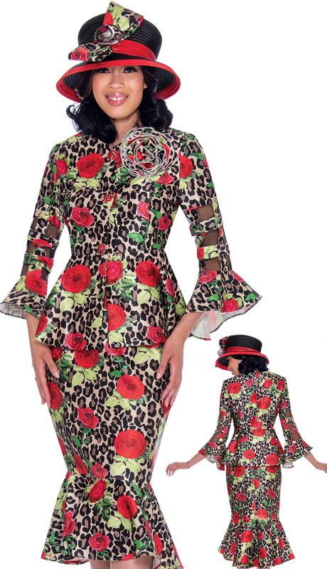GMI 7602-RE-IH ( 2pc Novelty Ladies Church Suit In Contrasting Floral And Leopard Print With Flared Sleeves, Peplum Jacket And Removable Pin )