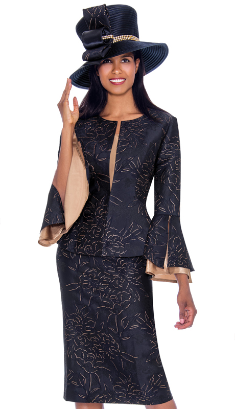 GMI 7593-BK-IH ( 3pc Jacquard Suit For Church In Gorgeous Pattern With Flared Sleeves )