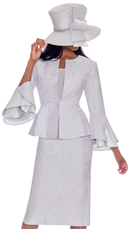 GMI 7593-WH-IH ( 3pc Jacquard Suit For Church In Gorgeous Pattern With Flared Sleeves )