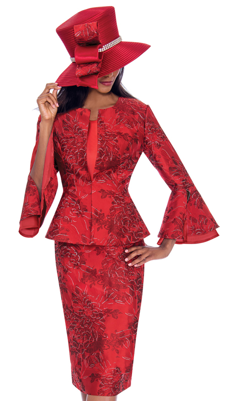 GMI 7593-RE-CO ( 3pc Jacquard Suit For Church In Gorgeous Pattern With Flared Sleeves )