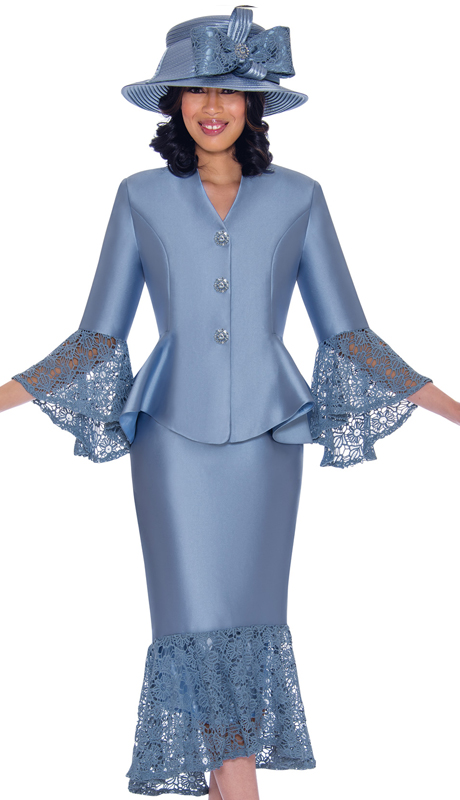 GMI 7552-PE-IH ( 2pc Silk Look Suit For Church With Lace Trim, Flare Skirt And Sleeves )