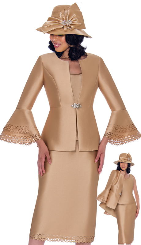 GMI 7763-CH-CO ( 2pc Silk Look With Lace First Lady Suit With Laser Cut Trim And Flared Sleeves )