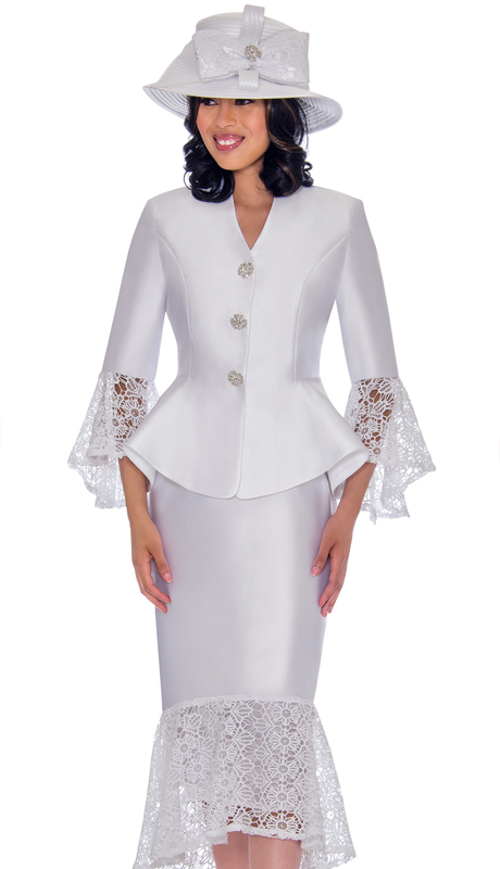 GMI 7552-WH-CO ( 2pc Silk Look Suit For Church With Lace Trim, Flare Skirt And Sleeves )