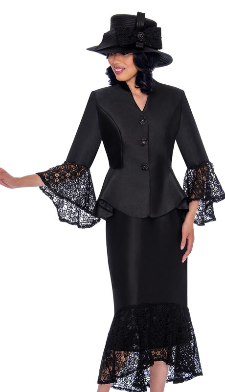 GMI 7552-BK-CO ( 2pc Silk Look Suit For Church With Lace Trim, Flare Skirt And Sleeves )