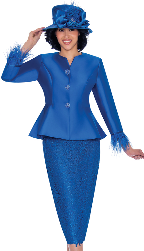 GMI 7532-RO-IH ( 2pc Silk Look With Lace First Ladies Suit With Peplum Jacket And Feather Trim Cuffs )