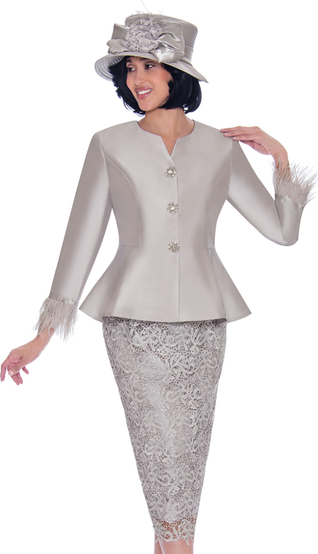 GMI 7532-SI-IH ( 2pc Silk Look With Lace First Ladies Suit With Peplum Jacket And Feather Trim Cuffs )