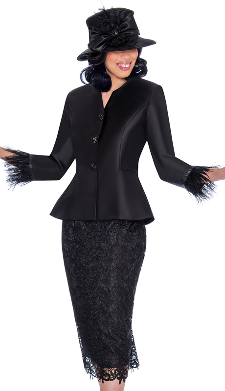GMI 7532-BK-IH ( 2pc Silk Look With Lace First Ladies Suit With Peplum Jacket And Feather Trim Cuffs )