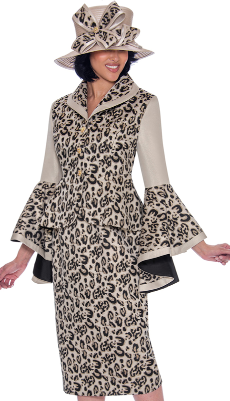 GMI 7512-GO-IH ( 2pc Brocade Leopard Print Sunday Suit With Dramatically Flared Sleeves )