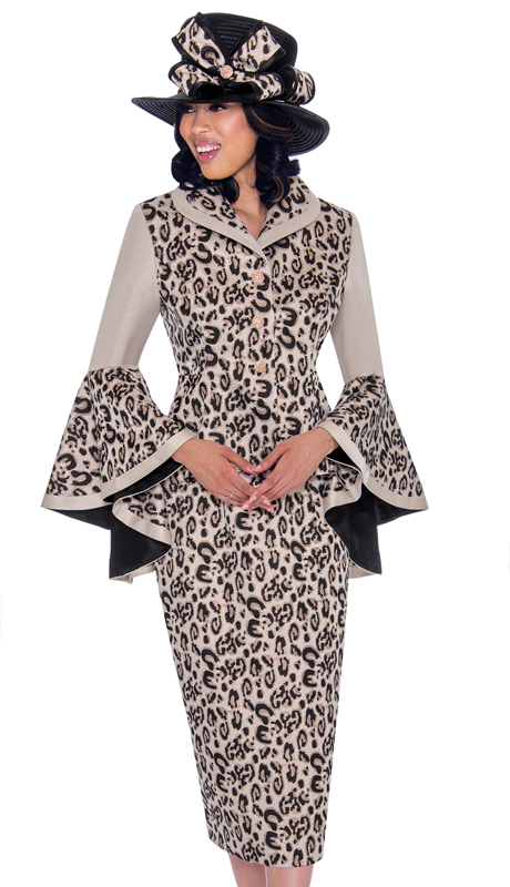 GMI 7512-RG-IH ( 2pc Brocade Leopard Print Sunday Suit With Dramatically Flared Sleeves )