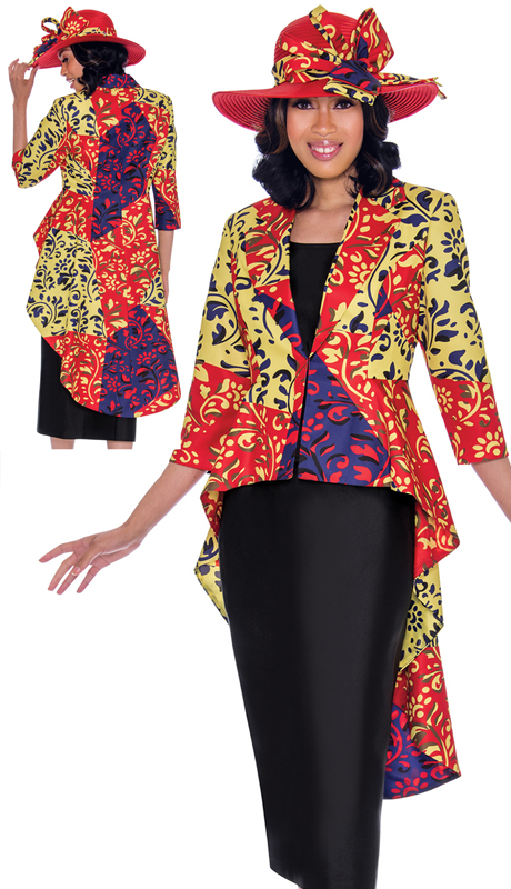 GMI 7503-RE-IH ( 2pc Silk Look Womens Church Suit With High-Low Jacket In Multi Colored Vibrant Print )