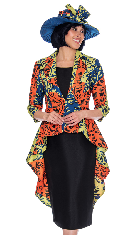 GMI 7503-GN-CO ( 2pc Silk Look Womens Church Suit With High-Low Jacket In Multi Colored Vibrant Print )