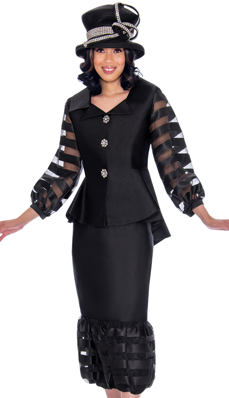 GMI 7632-BK-IH ( 2pc Silk Look With Organza Womens Church Suit With Stripe Sleeves And Trim With Peplum Jacket And High-Low Hem )