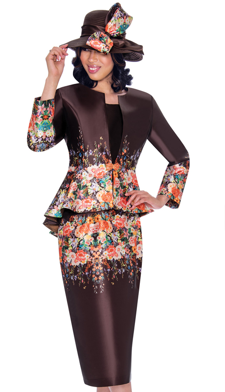 GMI 7483-BR-IH ( 3pc Silk Look Ladies Church Suit With Peplum Jacket, Elegant Border Print And  Jeweled Clasp Closure )