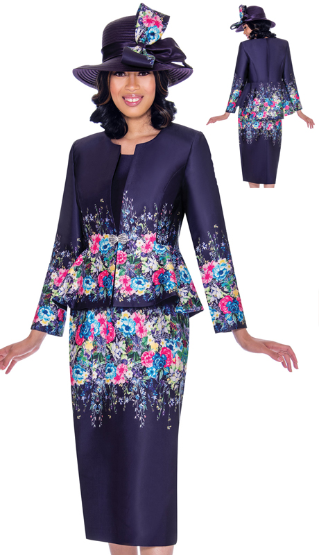 GMI 7483-PU-IH ( 3pc Silk Look Ladies Church Suit With Peplum Jacket, Elegant Border Print And Jeweled Clasp Closure )