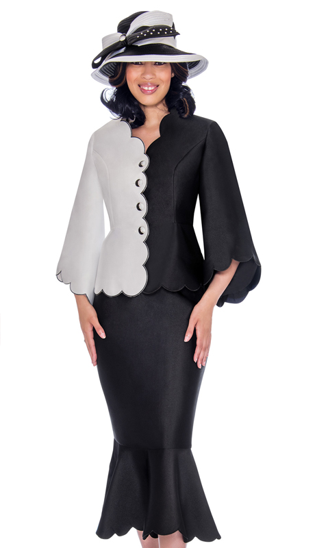 GMI 7472-BW-IH ( 2pc Silk Look Womens Church Suit  With Scallop Trim And Subtle Color Block Jacket )