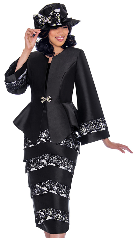 GMI 7442-BW-IH ( 3pc Silk Look Womens Church Suit With Peplum Jacket, Lace Trim And Wide Sleeves )