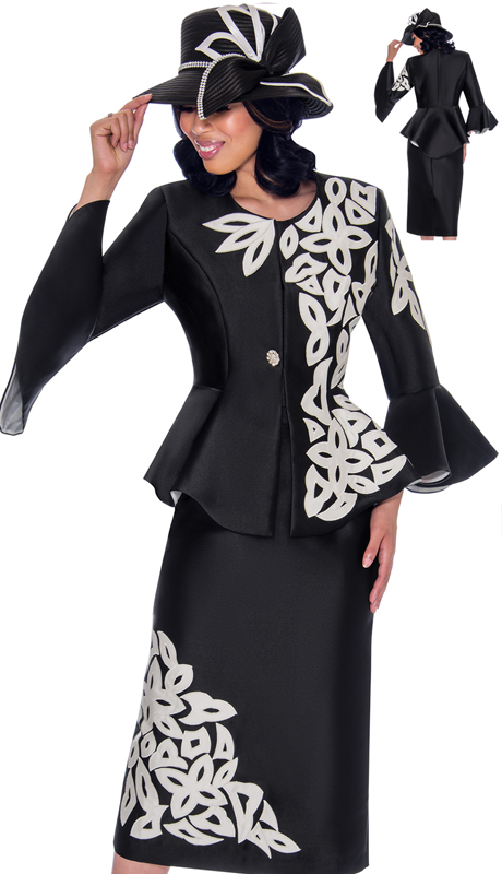 GMI 7112-BW-IH ( 2pc Silk Look Womens Suit For Sunday With Peplum Jacket, Flared Sleeves And Vivid Embroidered Applique )