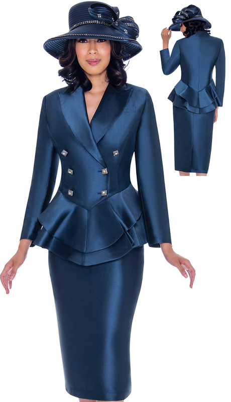 GMI 7612-NA-IH ( 2pc Silk Look Womens Church Suit With Peplum Double Breasted Jacket And Jewel )
