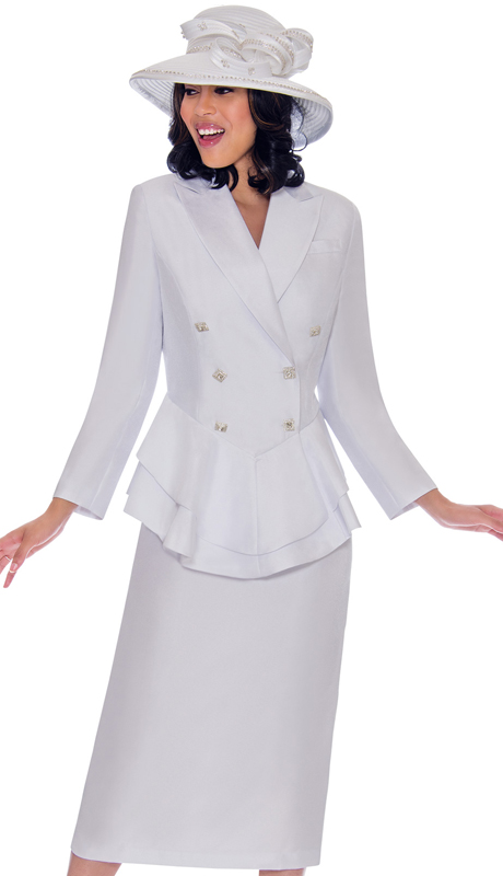 GMI 7612-WH-IH ( 2pc Silk Look Womens Church Suit With Peplum Double Breasted Jacket And Jewel )