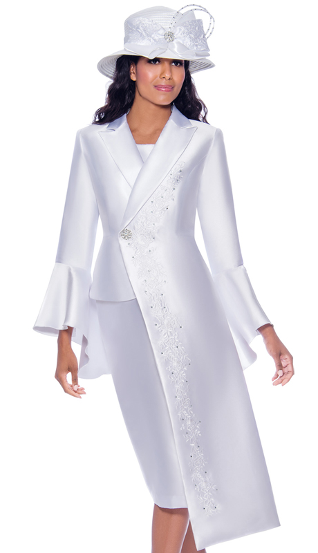 GMI 7912-W ( 3pc Silk Look Womens Sunday Suit With Asymmetric Jacket, Ornamental Clasp, Flare Sleeves, And Embellished Design )