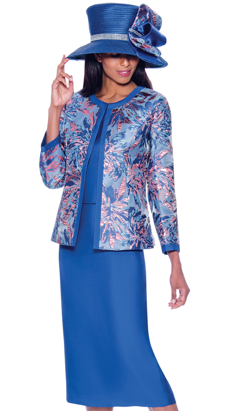 GMI 7923-RO-IH ( 3pc Silk Look With Brocade Ladies Church Suit With Abstract Nature Inspired Print On Jacket )