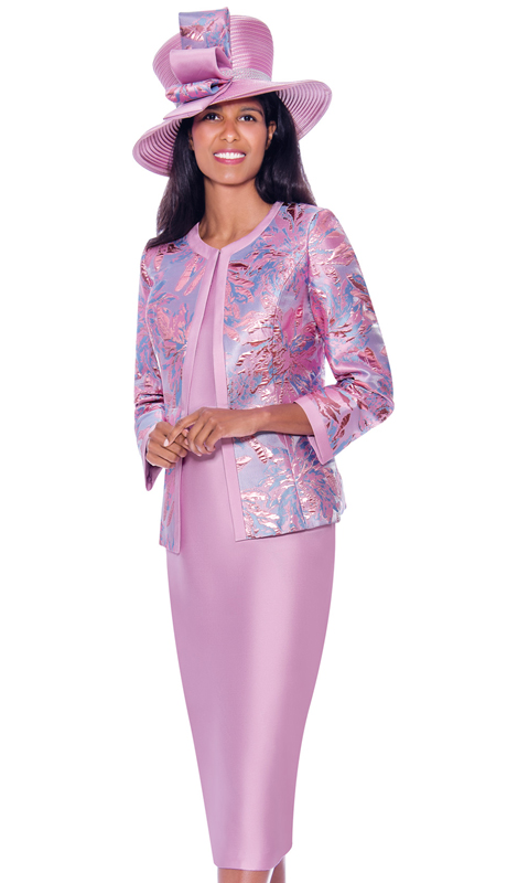 GMI 7923-P ( 3pc Silk Look With Brocade Ladies Church Suit With Abstract Nature Inspired Print On Jacket )