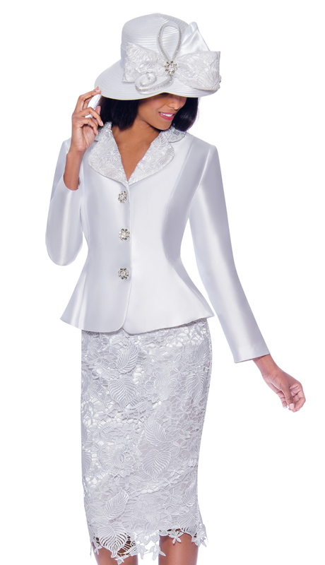 GMI 7932-W ( 2pc Silk Look Womens Suit For Church With Lace Skirt And Jeweled Buttons )