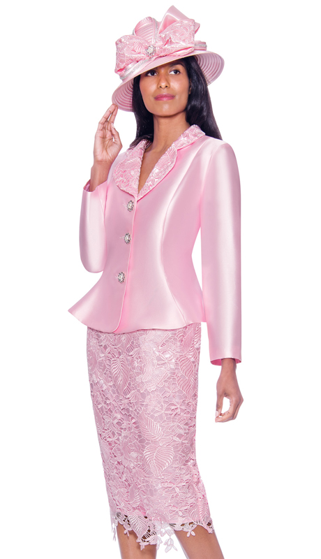 GMI 7932-P ( 2pc Silk Look Womens Suit For Church With Lace Skirt And Jeweled Buttons )
