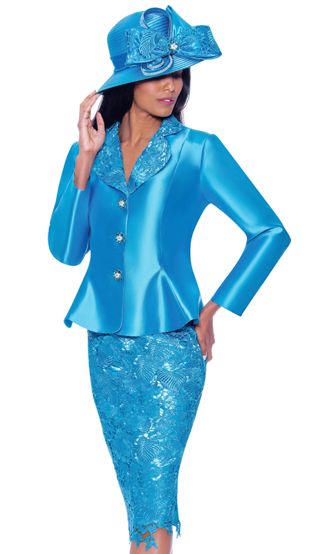 GMI 7932-T ( 2pc Silk Look Womens Suit For Church With Lace Skirt And Jeweled Buttons )