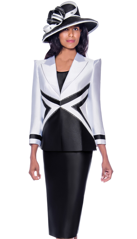 GMI 7943-WB ( 3pc Silk Look First Ladies Church Suit With Contrasting Geometric Design And Stone Studded Outline )