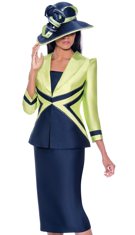 GMI 7943-LN ( 3pc Silk Look First Ladies Church Suit With Contrasting Geometric Design And Stone Studded Outline )