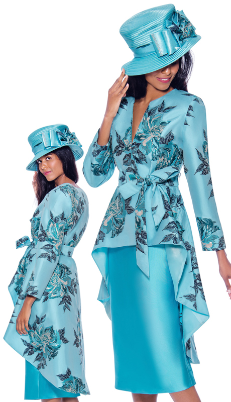 GMI 7962-AB ( 2pc Silk Look Womens Church Suit With High Low Jacket Patterned With Beautiful Natural Print And Sash )