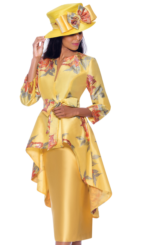 GMI 7962-Y ( 2pc Silk Look Womens Church Suit With High Low Jacket Patterned With Beautiful Natural Print And Sash )