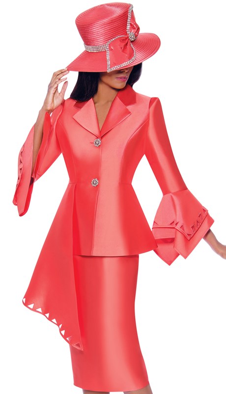 GMI 7972-C ( 2pc Silk Look Ladies Suit For Church With Cut-Out Pattern, Layered Flounce Sleeves And Asymmetrical Jacket )