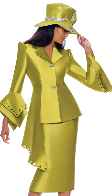 GMI 7972-G-IH ( 2pc Silk Look Ladies Suit For Church With Cut-Out Pattern, Layered Flounce Sleeves And Asymmetrical Jacket )