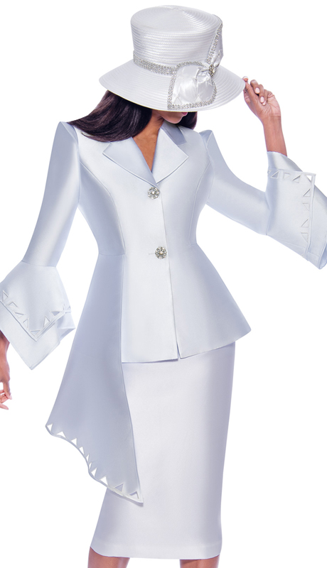 GMI 7972-W ( 2pc Silk Look Ladies Suit For Church With Cut-Out Pattern, Layered Flounce Sleeves And Asymmetrical Jacket )