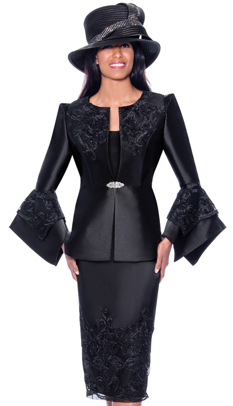 GMI 7983-B ( 3pc Silk Look Womens Sunday Suit With Lace Embroidery And Pointed Bell Sleeves )
