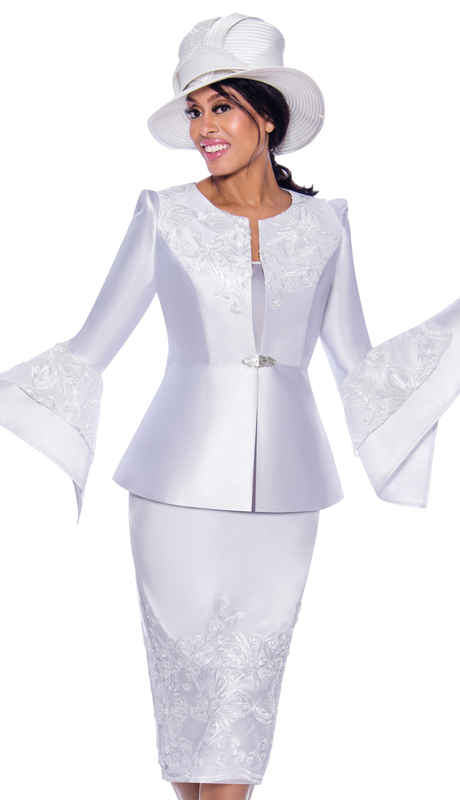 GMI 7983-W ( 3pc Silk Look Womens Sunday Suit With Lace Embroidery And Pointed Bell Sleeves )